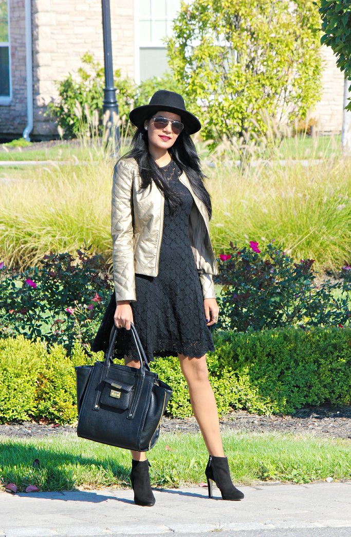 Black Lace Dress, Fall/Winter Looks With Dress, Felt Hat For Winter, Vegan Leather Jacket, Suede Ankle Booties