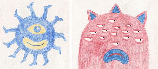 Mar Villar - Dibujos a dos colores, monstruo ciempiés, monstruo con muchos ojos