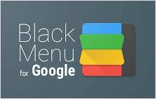 Black menu for Google extension for Google Chrome