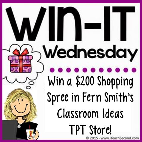 Win-It Wednesday - This is no April Fools Joke! Win Big with a $200 shopping spree From Fern Smith's Classroom Ideas!
