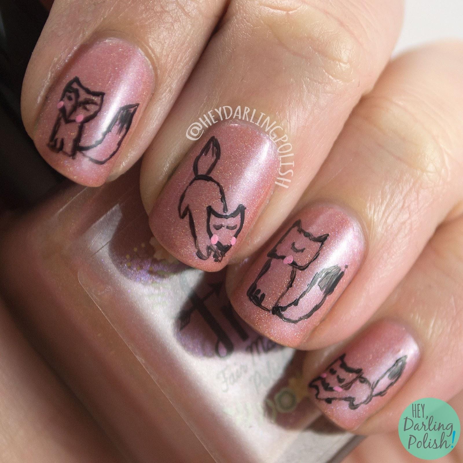 nails, nail art, nail polish, foxes, hey darling polish, indie polish, the nail challenge collaborative, holo