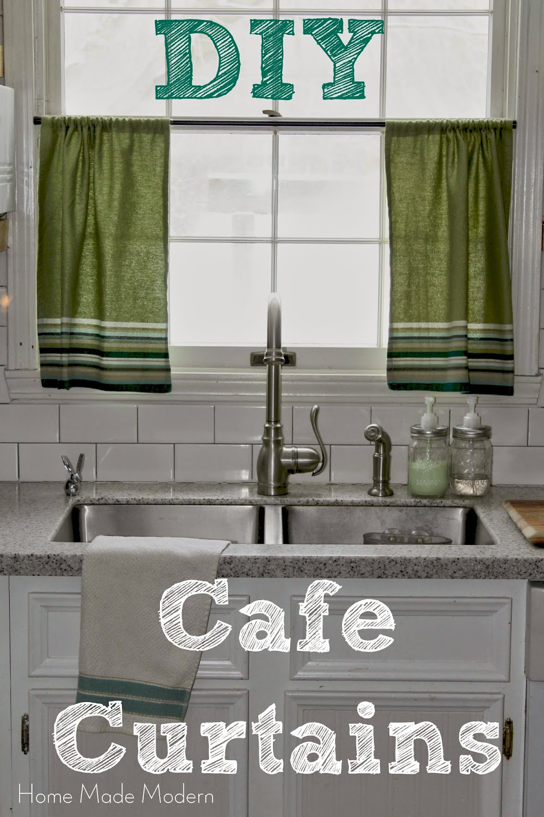 Home made modern cafe curtains from kitchen towels for Cafe curtains for kitchen ideas
