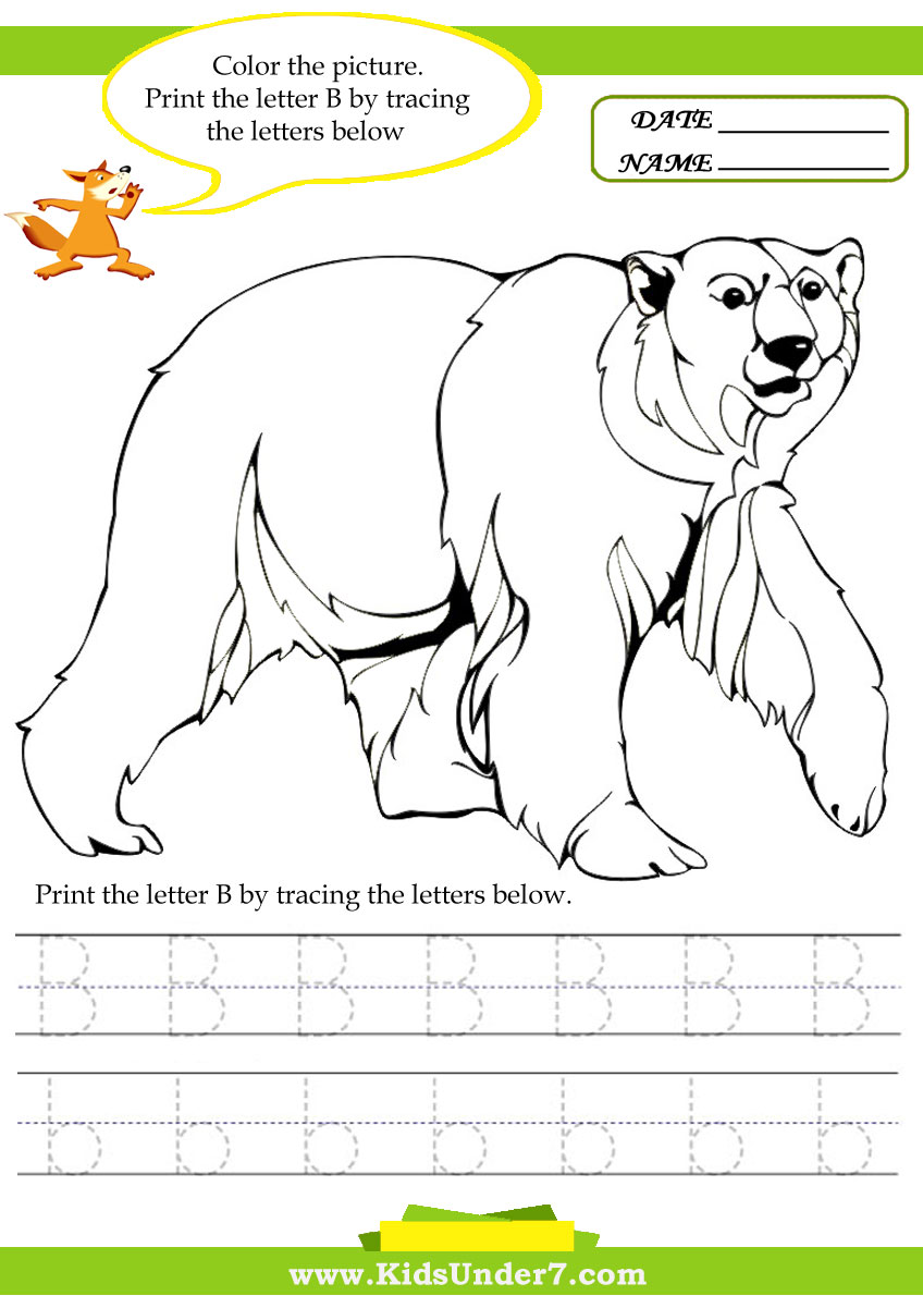 kids under 7 alphabet worksheets trace and print letter b
