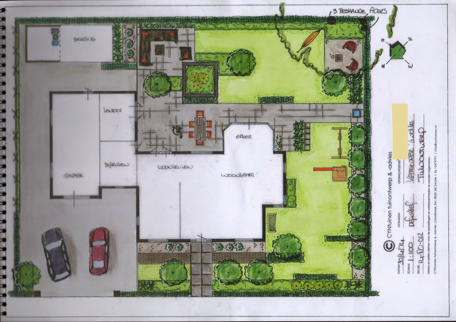 Cyntuinen tuinontwerp advies villatuin modern met for Tuinontwerp tussenwoning