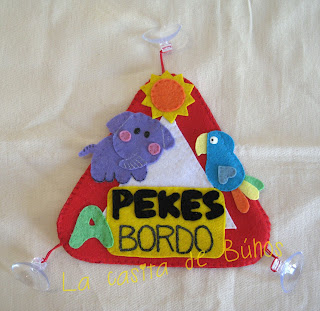 Bebe a bordo fieltro Selva - Jungle felt baby on board