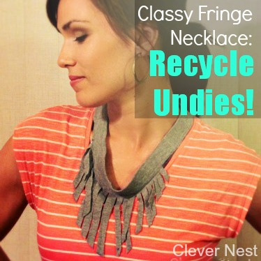 Classy fringe necklace from recycled underwear!