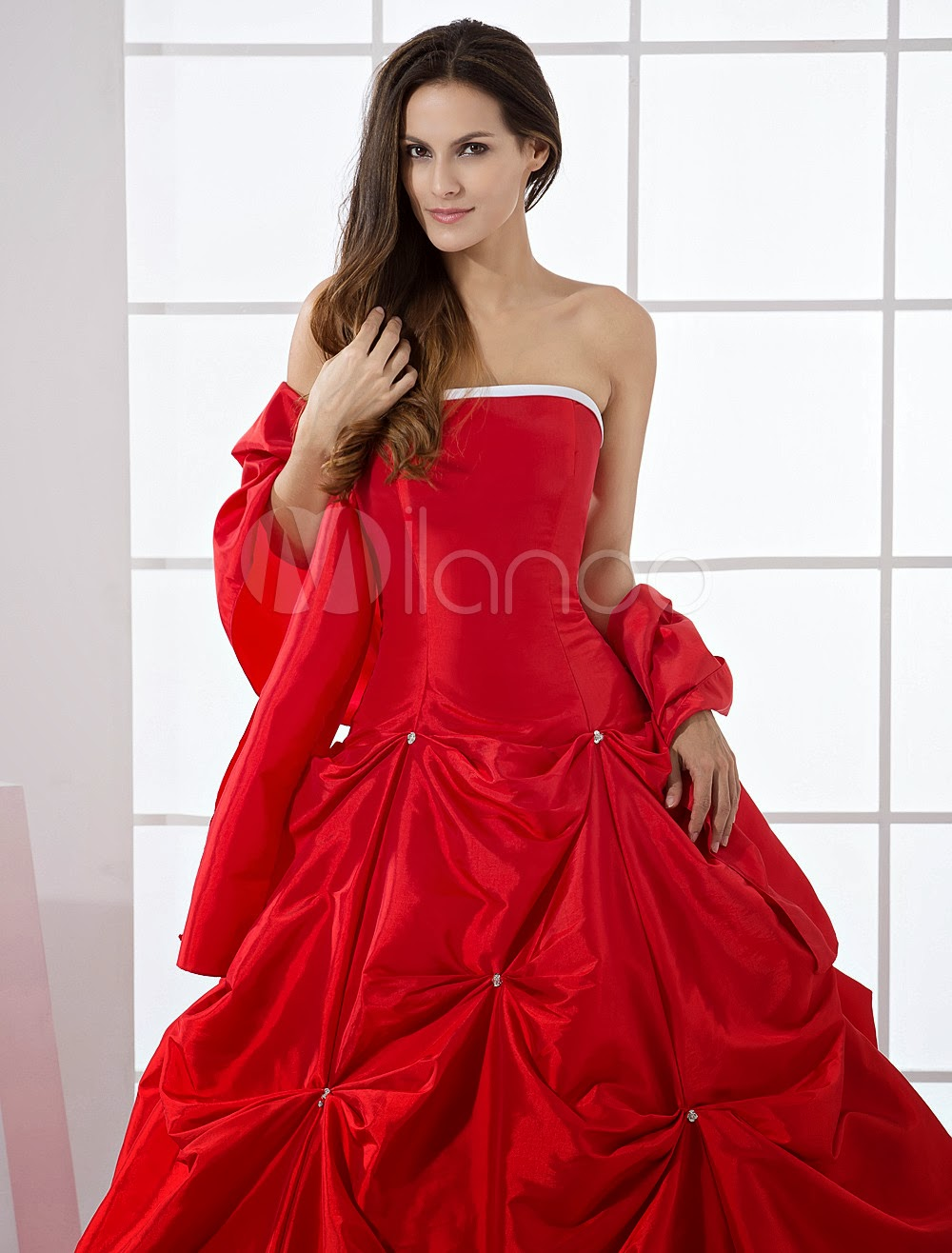 China Wholesale Dresses - Red Ball Gown Strapless Quinceanera Dress