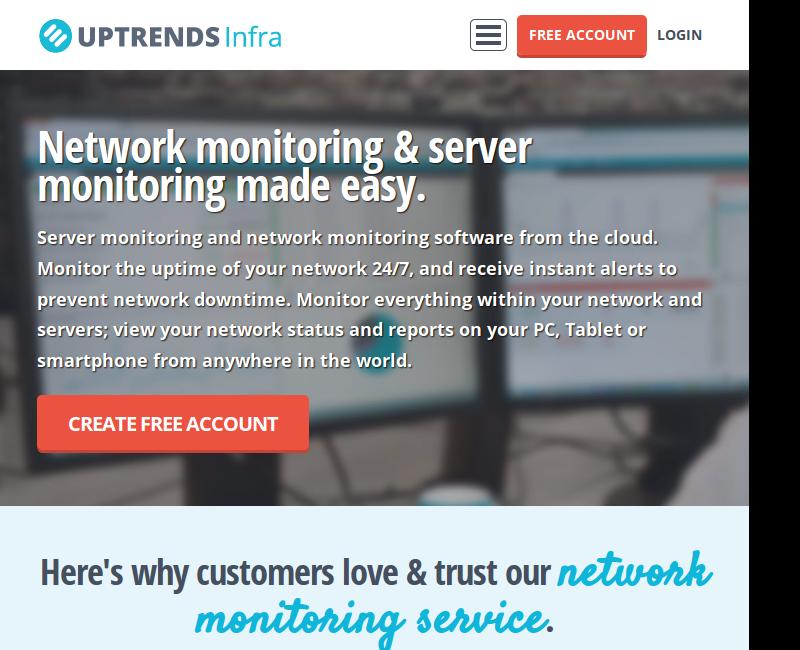 Uptrends Infra é uma solução para monitoramento a partir da nuvem, que oferece funcionalidades para monitoramento de servidores, rede, alertas e relatórios