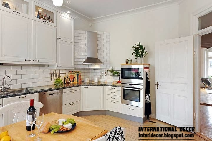 Scandinavian kitchen style and design, corner cabinets