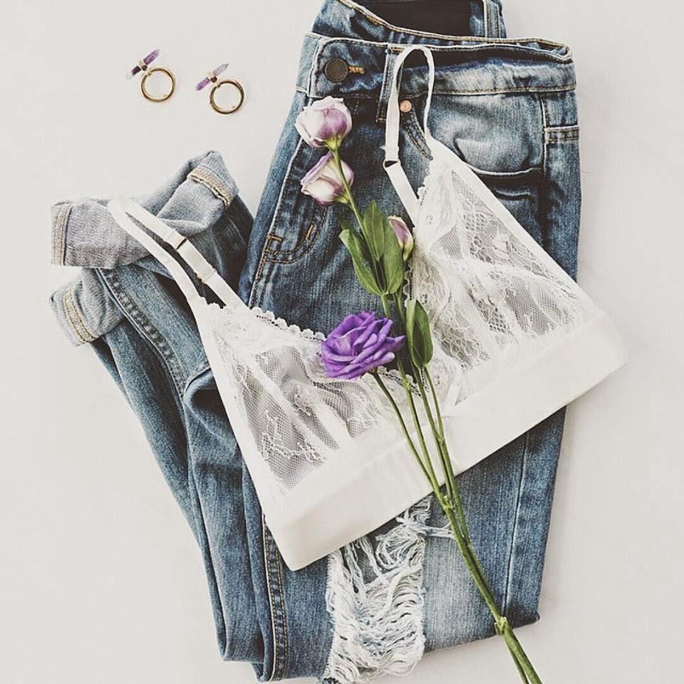 Daily inspiration Denim+Roses+Lingerie