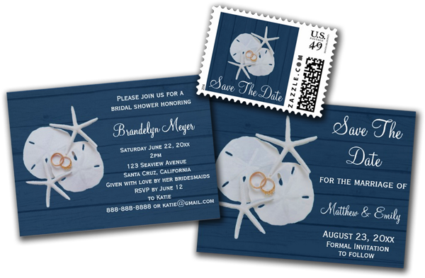 Starfish Sand Dollar Bridal Shower Invitation
