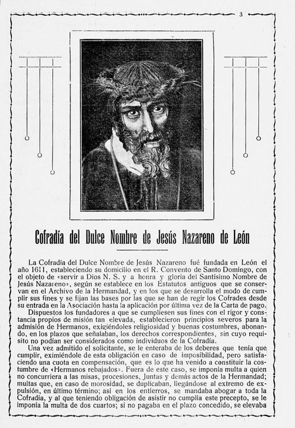 Articulo Cofradía del Dulce Nombre de Jesús Nazareno. Revista Semana Santa León 1928