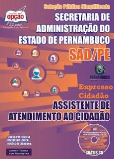 Apostila Concurso SAD-PE Assistente de Atendimento ao Cidadão