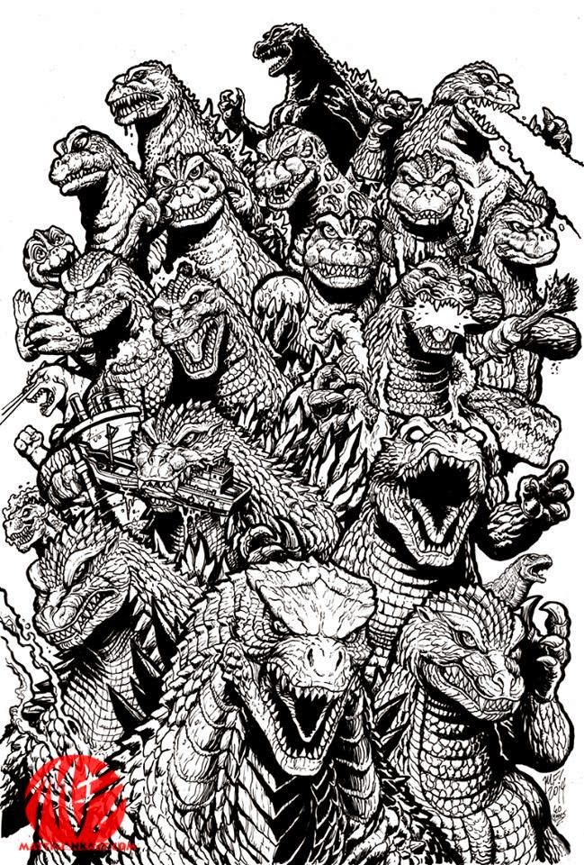 Line Art Year 2 : Kaiju battle godzilla s th anniversary by matt frank