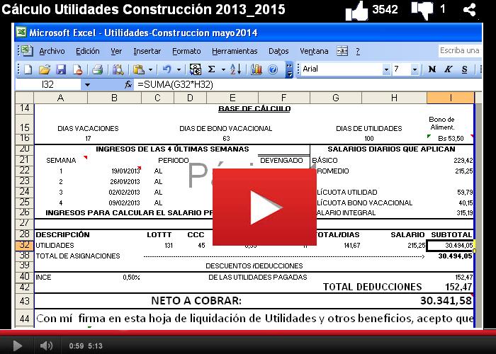 Cálculo Utilidades CCV 2013 2015  en la Construcción