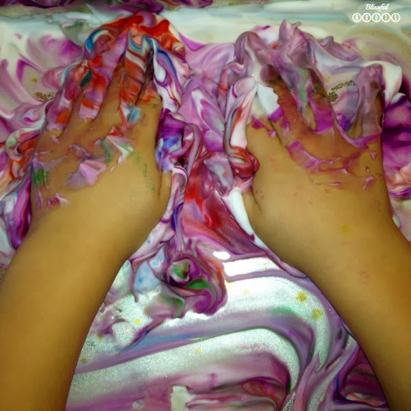Shaving Cream & Food Coloring Art For Kids from Blissful Roots