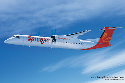 Computer image of SpiceJet Bombardier Q400