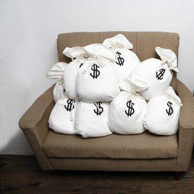 almofada saco de dinheiro