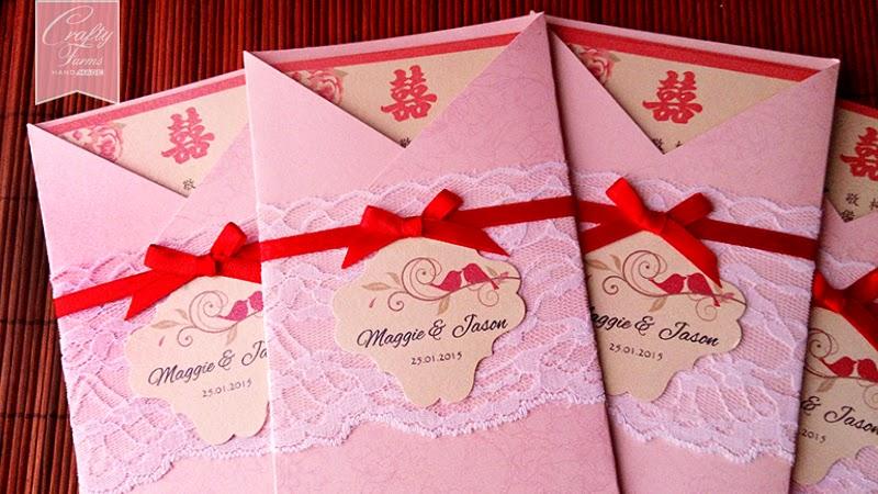 Lace and Ribbon Modern Chinese Wedding Card Malaysia, Hong Kong, Singapore