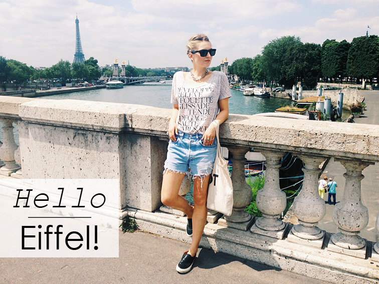 Fashion Over Reason in Paris, Eiffel Tower, Pont de la Concorde, summer, Refind Denim cutoffs, Sandro slip-on ANACONDAs sneakers, New York City Ballet terms tee, Ray-Ban wayfarers, Suburban Riot canvas tote bag