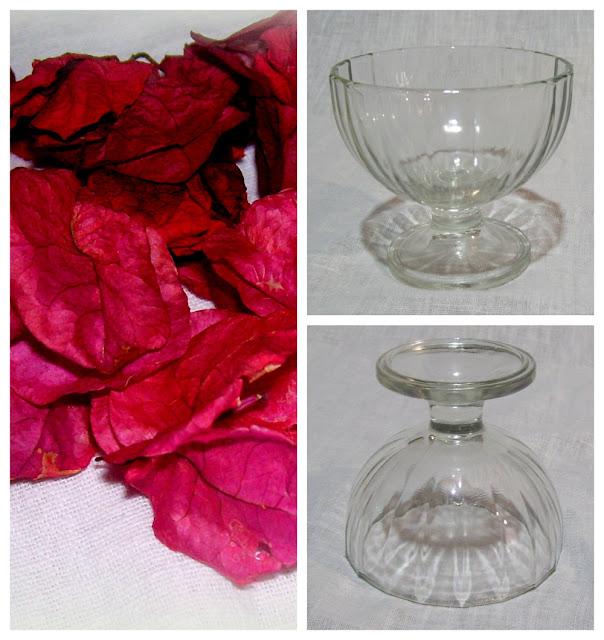 Copa para postre y flores disecadas. Componentes para armar candelero