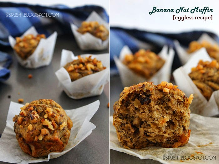 Spusht | Moist Eggless Banana Walnut Muffins