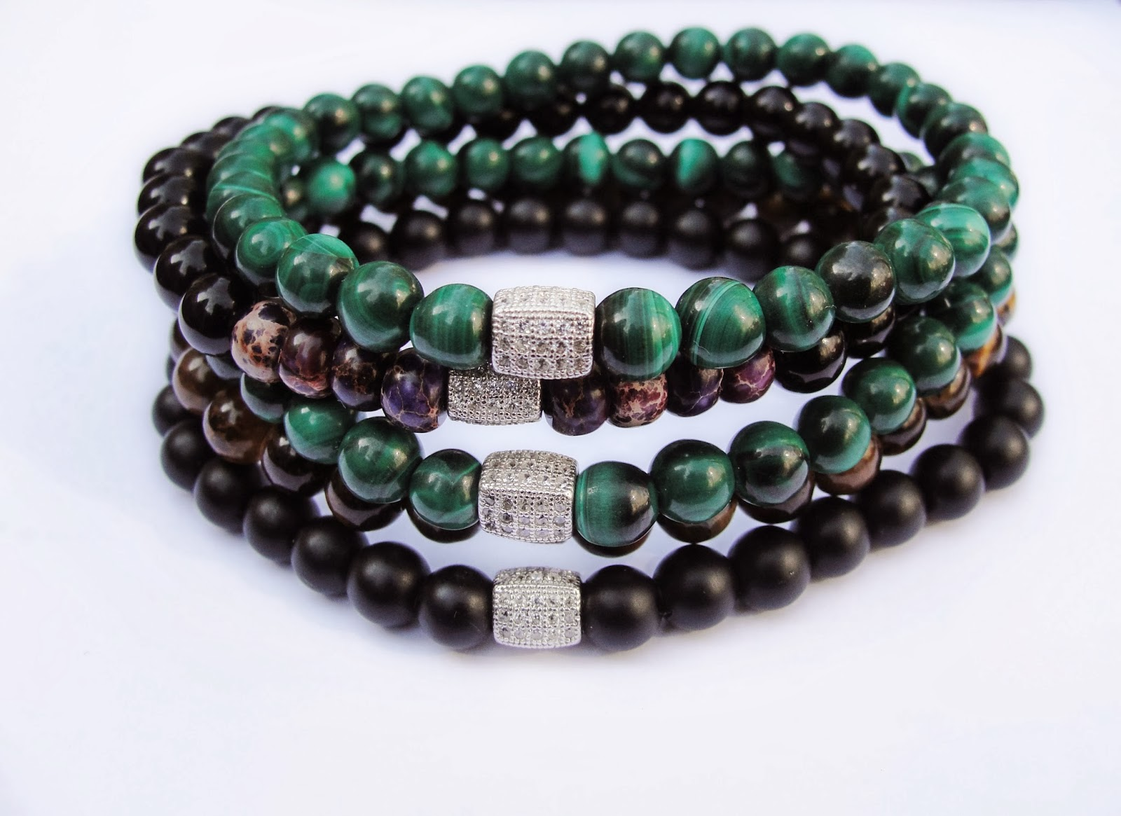 Green Malachite, Tiger's Eye, Matte Black Onyx Boybeads Mens Stretch Bead  Bracelets With Small 6mm Beads