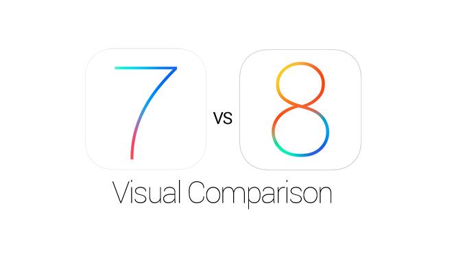 Apple iOS 8 vs iOS 7 Features, Icons, UI Elements Visual Comparison