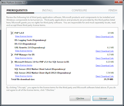 PHP 5.4 on IIS 7.5 Microsoft Web Platform Installer 4.0 Prereqs