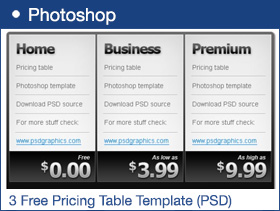 3 Free Pricing Table Template (PSD)