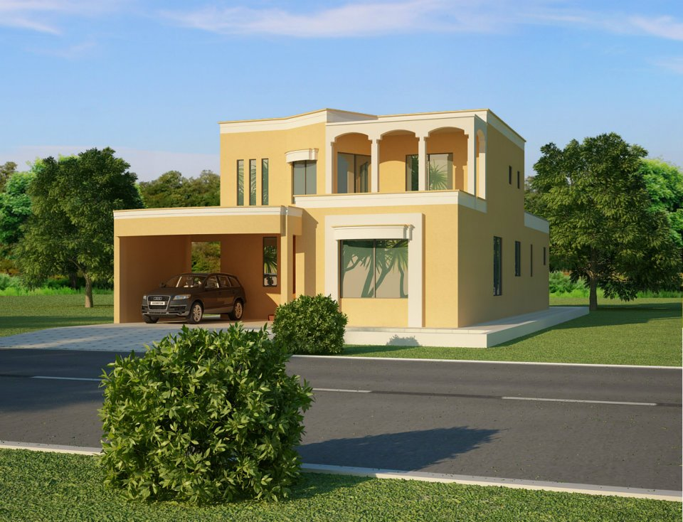 3d front 1 kanal 2 kanal house in lahore for Pakistani homes design