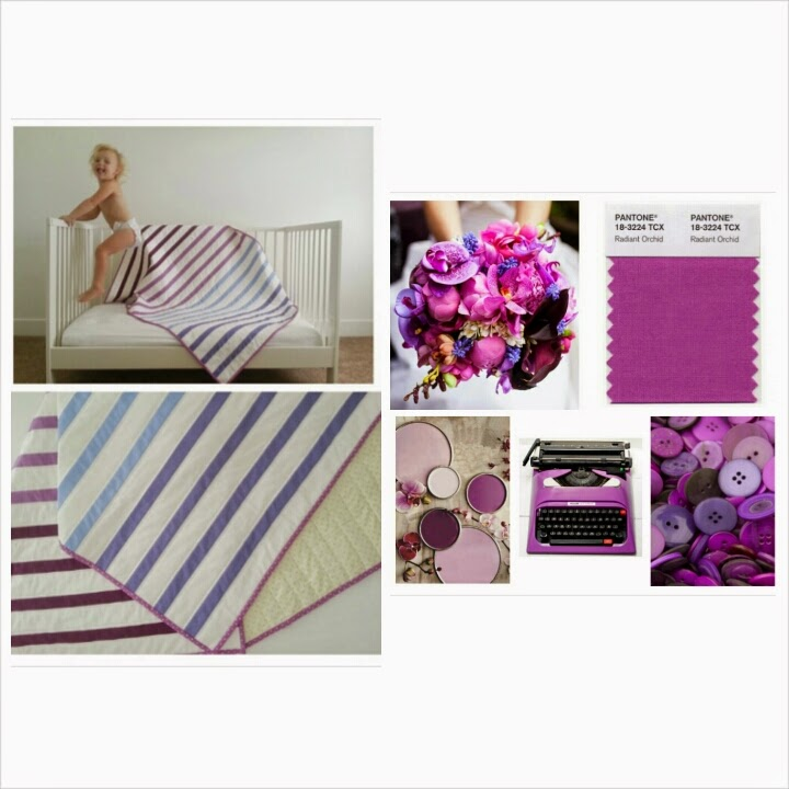 Pantone Radiant Orchid Striped Baby Quilt Collage