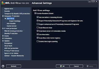 AVG 2013 antivirus Advance Setting Screen Shot