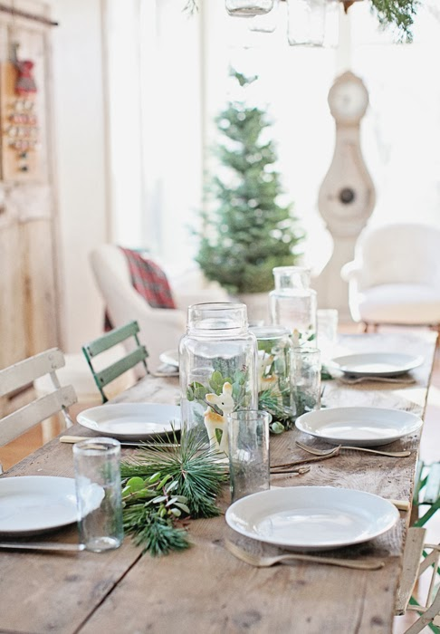 i lined the table with three jars pine and manzanita - Farmhouse Christmas Decor For Sale