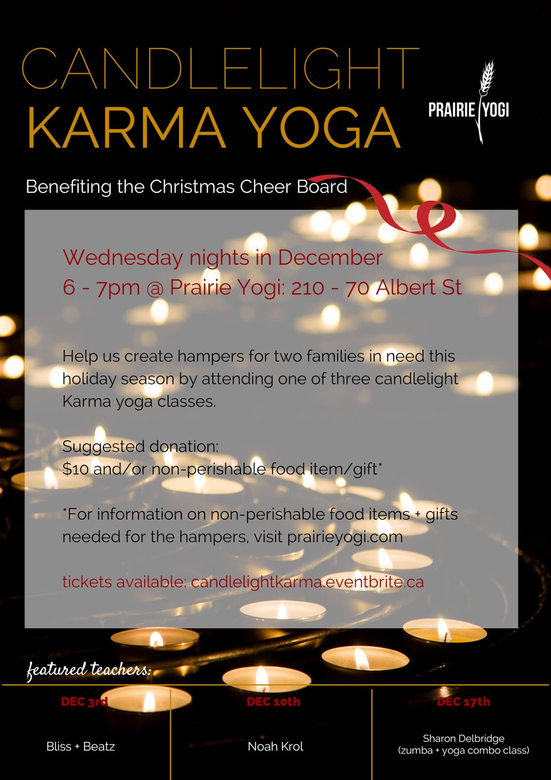 candlelight yoga, Christmas yoga, karma yoga winnipeg, Noah Krol, Popup prana, prairie yogi, Sharon Delbridge, spread good cheer, bliss and beatz, Winnipeg christmas cheer, Winnipeg Yoga
