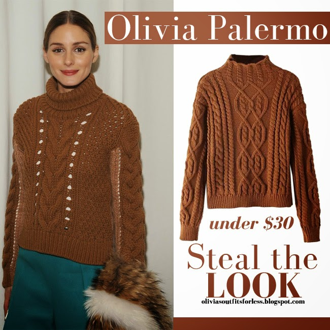 Olivias Outfits For Less Look For Less Brown Cable Knit Sweater