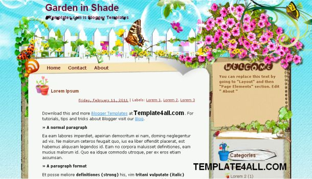 Garden Shade Vector Blogger Template