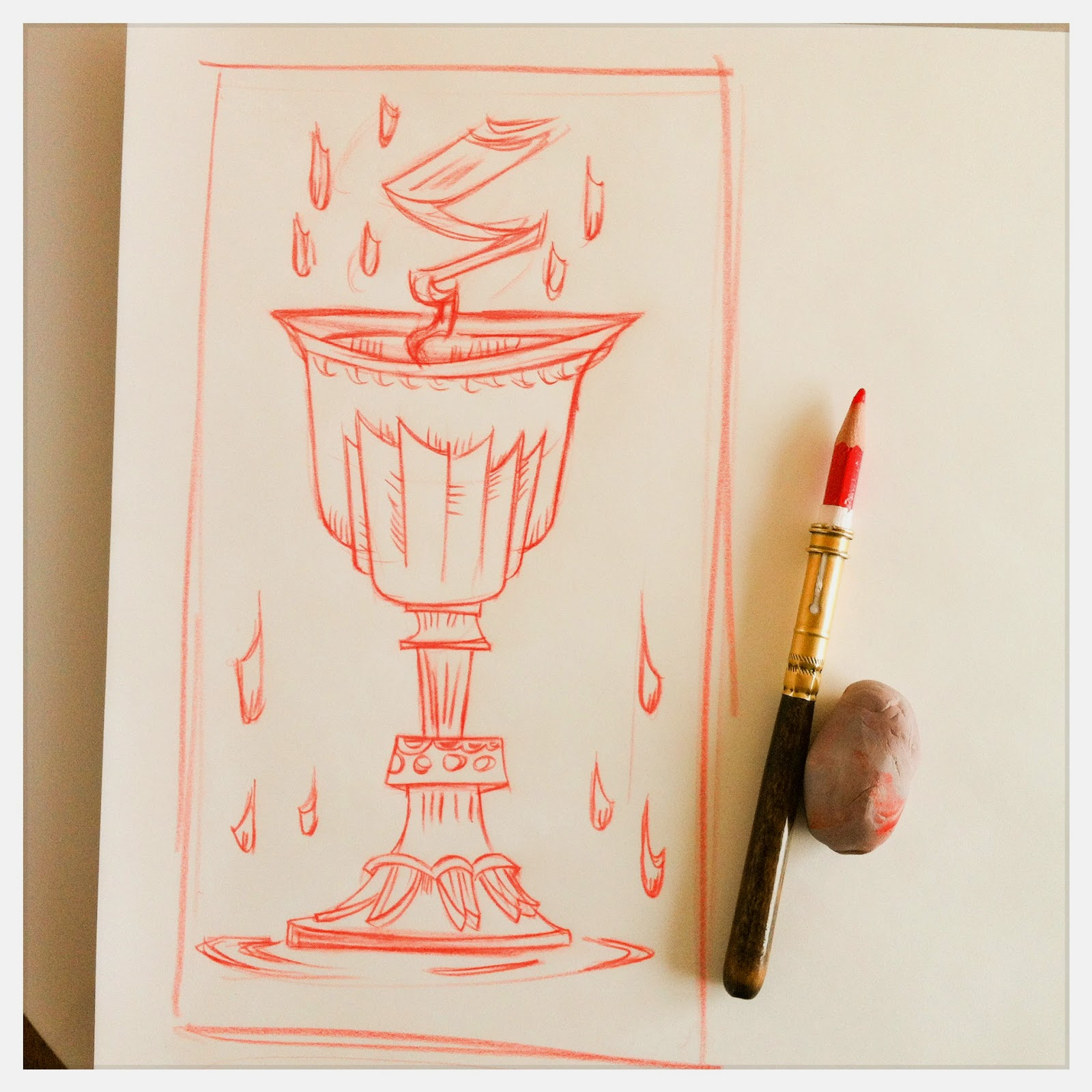 Design for: The Ace of Chalices Tarot card -In the spirit of the tarot Marseille - red pencil sketch by Cesare Asaro - Curio & Co. (Curio and Co. OG - www.curioandco.com)