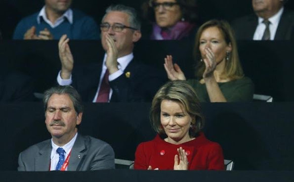 Queen Mathilde of Belgium attends the victory of Andy Murray over David Goffin of Belgium during day three of the Davis Cup Final 2015 between Belgium and Great Britain