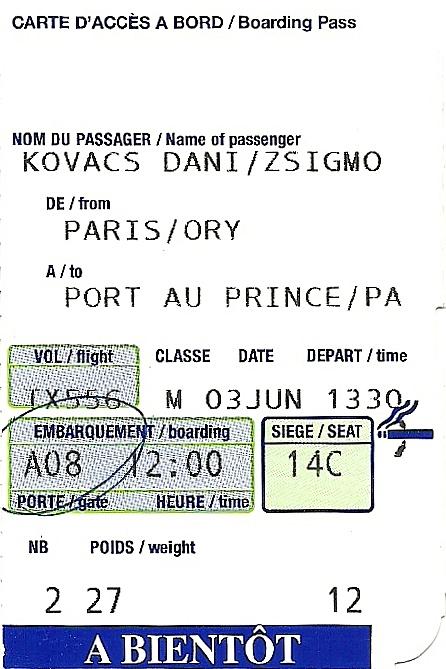 The Travelers Drawer AIR CARAÏBES Carte Daccès à Bord Pour Le - Vol paris port au prince