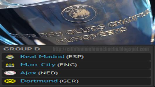 Jadual Dan Keputusan Perlawanan Liga Juara-Juara Eropah Kumpulan D 2012/2013