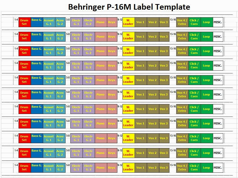 Pf: Behringer P-16M Label Template