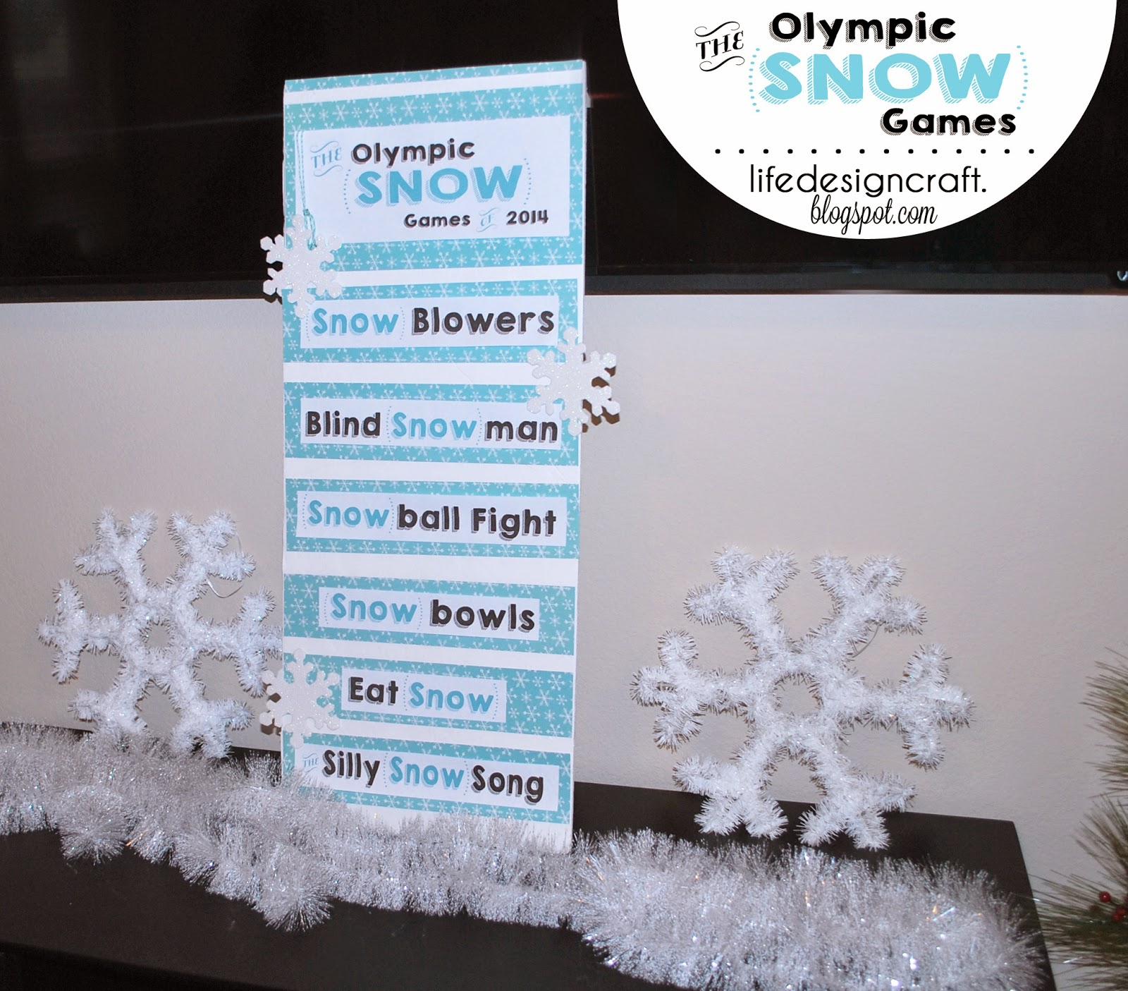 "The Olympic Snow Games - interactive family game for the holidays, winter break, or the next time your family is ""snowed in"". This lil' family event will have you all laughing, cheering, and having ""snow"" much fun together!"
