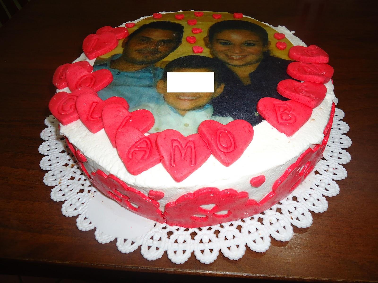 torta con foto e cuori