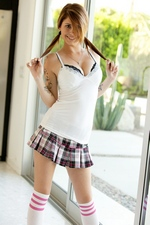 Pigtailed Schoolgirl Hailey Leigh Strips For Some Lucky Pervert With A Camera