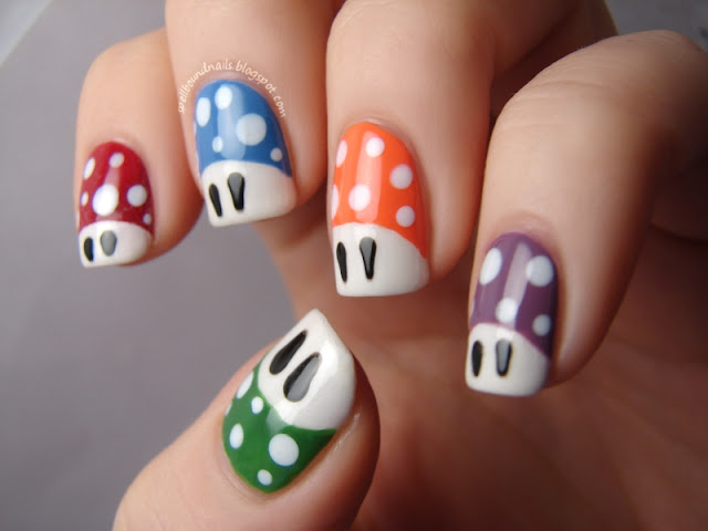 nails nailart nail art mani manicure polish Spellbound ABC Challenge T is for Toadstools Mario mushrooms dots spots red blue orange purple green L.A. Colors Borghese China Glaze Sinful Colors Wet n Wild CQ Pearls Buon Viaggio Mauve black white Adventure Red-y Exotic Green Club Havana Secret Peri-Wink-Le Wii game tutorial character nails