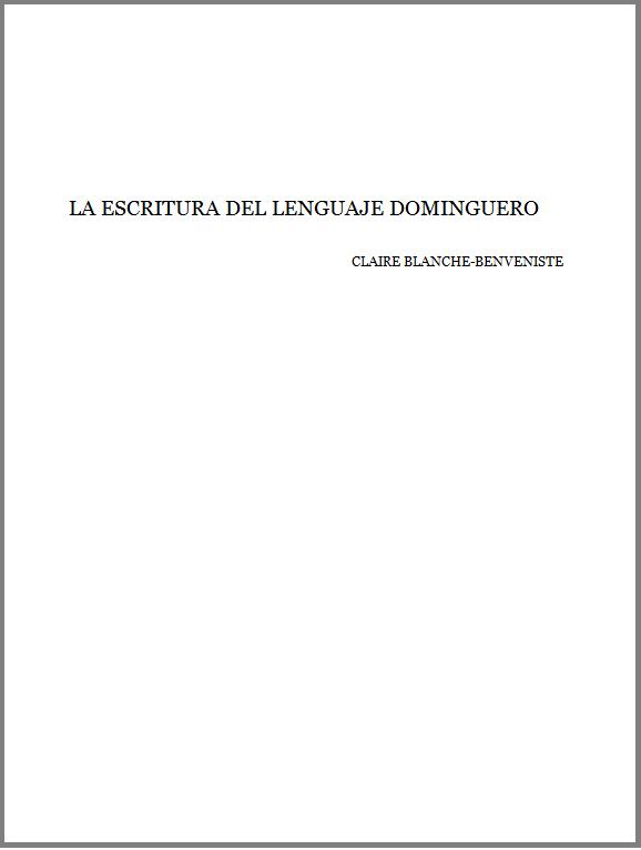 LA ESCRITURA DEL LENGUAJE DOMINGUERO