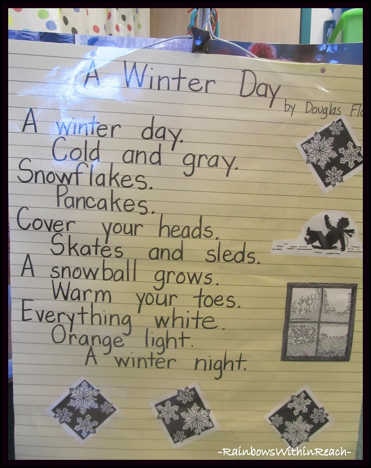 A Winter Day Poem on Anchor Chart via RainbowsWithinReach