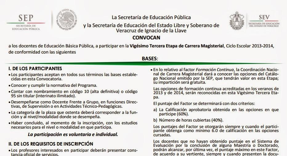 BAJAR CONVOCATORIA ETAPA 23 CARRERA MAGISTERIAL