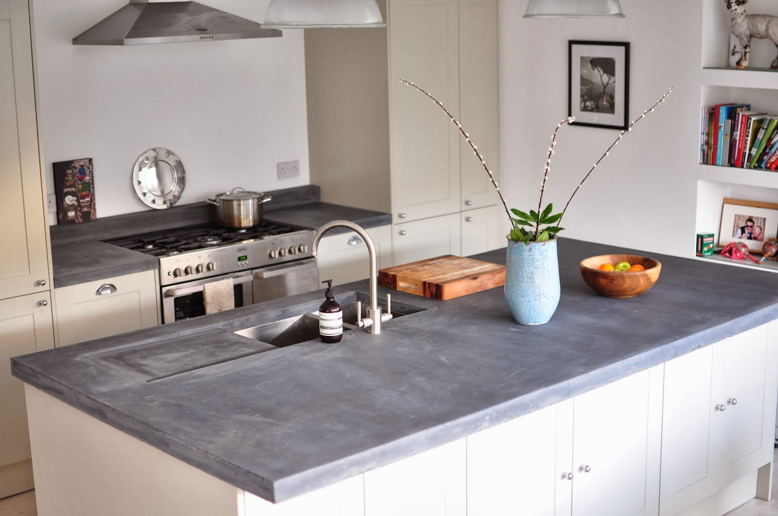 Edinburgh Slate Blue Concrete Worktop with Drainer